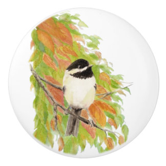 Watercolor Autumn Fall Orange Green Chickadee Bird Ceramic Knob