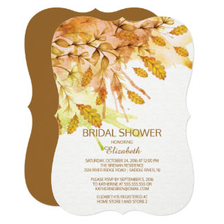 Watercolor Autumn Leaves Bridal Shower Invitation