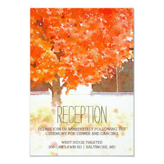Watercolor Autumn Leaves | Fall Wedding Reception 9 Cm X 13 Cm Invitation Card