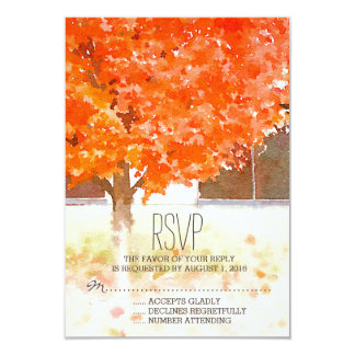 Watercolor Autumn Leaves | Fall Wedding RSVP 9 Cm X 13 Cm Invitation Card