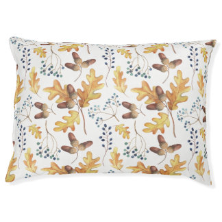 Watercolor Autumn Oak Leaves, Acorns, Berries | Pet Bed