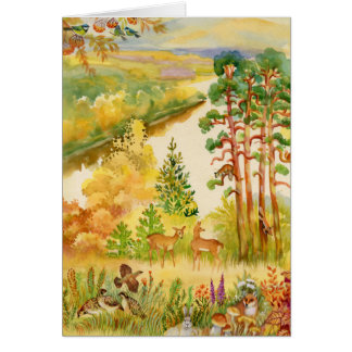 Watercolor Autumn Scene Greeting Card