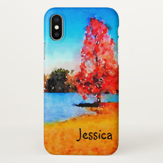 Watercolor Autumn Tree and Lake iPhone X Case