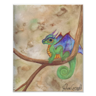 Watercolor Baby Dragon Poster