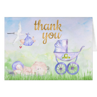Watercolor Baby Shower Thank You Card with stork f