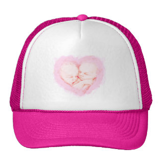 Watercolor Baby Twins Baby shower Cap
