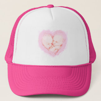 Watercolor Baby Twins Baby shower Trucker Hat