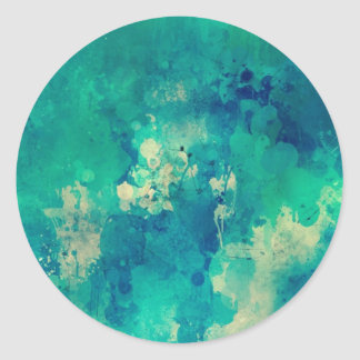 Watercolor backdrop artistic design classic round sticker