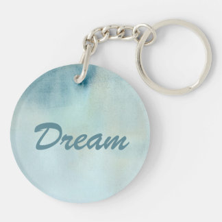 watercolor background in pastel blue and yellow Double-Sided round acrylic keychain