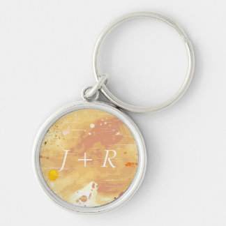watercolor background Silver-Colored round key ring