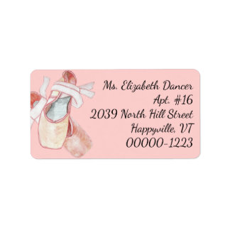 Watercolor Ballerina Pink Slippers Return Address Label