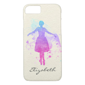 Watercolor Ballet Dancer on Pointe - Your Name on iPhone 8/7 Case