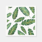 Watercolor banana leaves tropical summer pattern disposable napkin