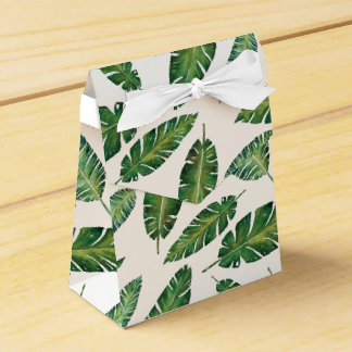 Watercolor banana leaves tropical summer pattern favour box