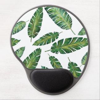 Watercolor banana leaves tropical summer pattern gel mouse pad