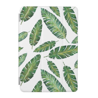 Watercolor banana leaves tropical summer pattern iPad mini cover