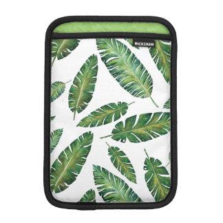 Watercolor banana leaves tropical summer pattern iPad mini sleeves