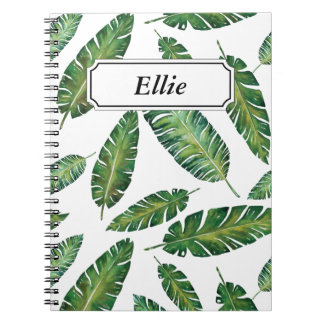 Watercolor banana leaves tropical summer pattern notebooks