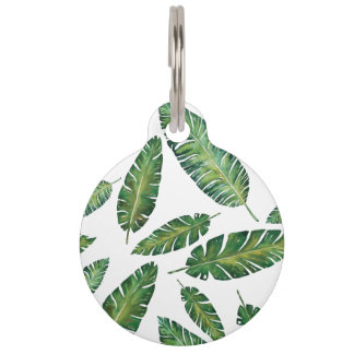 Watercolor banana leaves tropical summer pattern pet ID tag