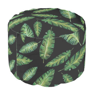 Watercolor banana leaves tropical summer pattern pouf