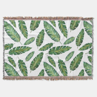 Watercolor banana leaves tropical summer pattern throw blanket