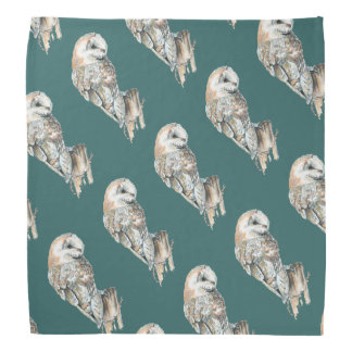 Watercolor Barn Owl Bird Custom Background color Bandana