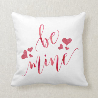 Watercolor Be Mine Valentine's Day Pillow
