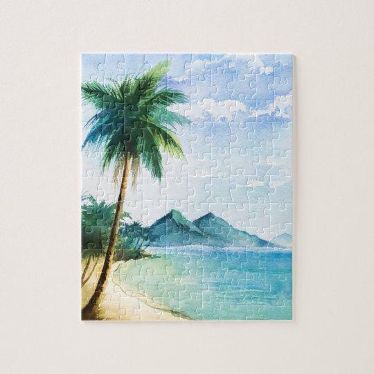 Watercolor Beach Palm Jigsaw Puzzle