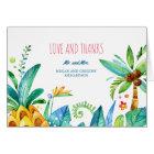 watercolor beach palms pineapple wedding thank you card