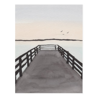 Watercolor beach pier postcard
