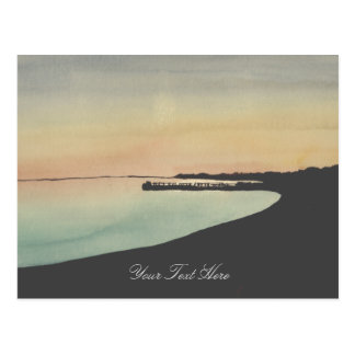 Watercolor Beach Pier Sunset Postcard