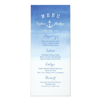 Watercolor beach wedding nautical anchor menu card 10 cm x 24 cm invitation card