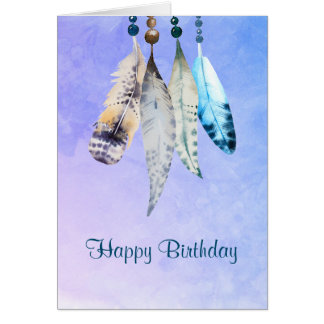 Watercolor Beads 'n Feathers Happy Birthday Greeting Card