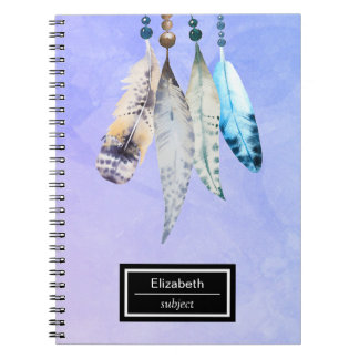 Watercolor Beads 'n Feathers on Bluish Purple Notebook