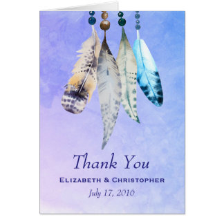 Watercolor Beads 'n Feathers Wedding Thank You Card