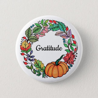 Watercolor Beautiful Pumpkin Wreath with leaves 6 Cm Round Badge