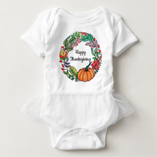 Watercolor Beautiful Pumpkin Wreath with leaves Baby Bodysuit