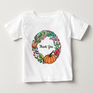 Watercolor Beautiful Pumpkin Wreath with leaves Baby T-Shirt