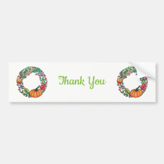 Watercolor Beautiful Pumpkin Wreath with leaves Bumper Sticker