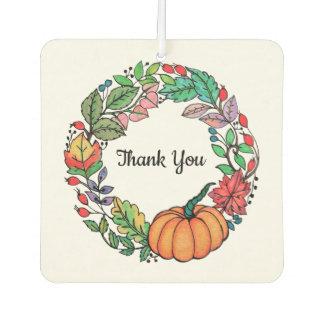 Watercolor Beautiful Pumpkin Wreath with leaves Car Air Freshener