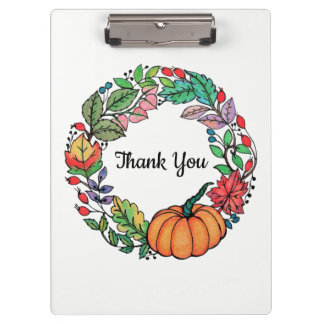 Watercolor Beautiful Pumpkin Wreath with leaves Clipboard