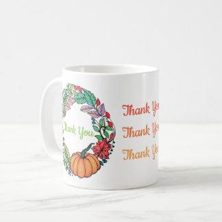 Watercolor Beautiful Pumpkin Wreath with leaves Coffee Mug