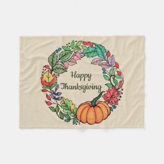 Watercolor Beautiful Pumpkin Wreath with leaves Fleece Blanket