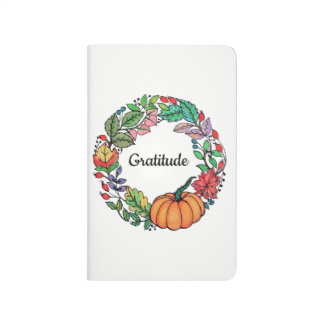 Watercolor Beautiful Pumpkin Wreath with leaves Journal