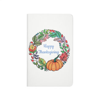Watercolor Beautiful Pumpkin Wreath with leaves Journal