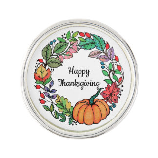 Watercolor Beautiful Pumpkin Wreath with leaves Lapel Pin