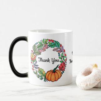 Watercolor Beautiful Pumpkin Wreath with leaves Magic Mug