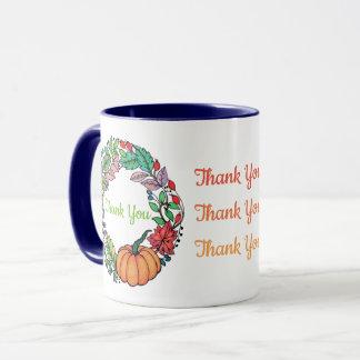 Watercolor Beautiful Pumpkin Wreath with leaves Mug