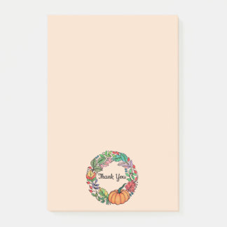 Watercolor Beautiful Pumpkin Wreath with leaves Post-it Notes