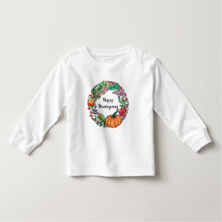 Watercolor Beautiful Pumpkin Wreath with leaves Toddler T-Shirt